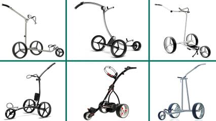Die besten Elektro-Trolleys im Golf für das Jahr 2018 haben wir für Sie hier im Überblick. (Foto: Foto: TiCad/JuCad/Kiffe/PG-PowerGolf/Motocaddy/GolfQuant)