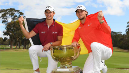 Thomas Pieters und Thomas Detry feiern den Sieg beim World Cup of Golf 2018. (Foto: Twitter.com/@tomdetry)