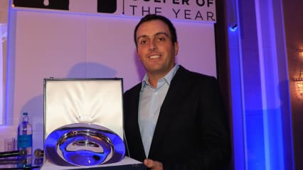 Francesco Molinari mit der Trophäe in London. (Foto: Twitter)