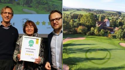 Links: Die glücklichen Gewinner vom GC Zollmühle mit Golf Post CEO Matthias Gräf (re.). Rechts: Der Platz des Golfclubs. (Foto: Golf Post)