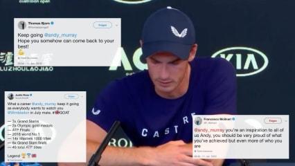 Golfstars zeigen ihren Respekt für Andy Murray. (Foto: YouTube/@ESPN, Twitter/@thomasbjorngolf @JustinRose99 @F_Molinari)