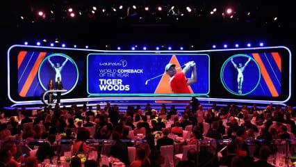 Tiger Woods konnte nicht persönlich bei der Verleihung erscheinen aber er nahm eine Video-Botschaft auf. (Foto: Getty)
