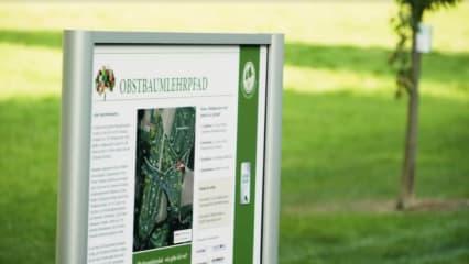Die Infotafel zum Obstbaumlehrpfad im GC Schönbuch. (Foto: Facebook/@deutschegolfsport)