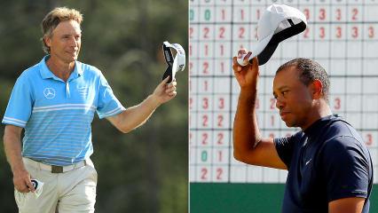 Bernhard Langer (l.) und Tiger Woods zeigen in der ersten Runde des US Masters 2019 gute Leistungen. (Foto: Getty)