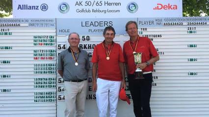 Das Podest in der AK 65: Der alte und neue Deutsche Meister Christoph Städler (r.) und die beiden Platzierten Hans-Günter Reiter und Peter Cairns. (Foto: DGV/ Langer Sport Marketing)