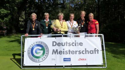 Claudia Rassmann (Frankfurter GC), Heidi Matzke (GC Sylt), Marion Kaufmann (GC Neuhof), Stephanie Kiefer (G&LC Kronberg), Susanne Lichtenberg (Krefelder GC) und Caroline Effert (Aachener GC). (von links, Foto: DGV/Kirmaier)