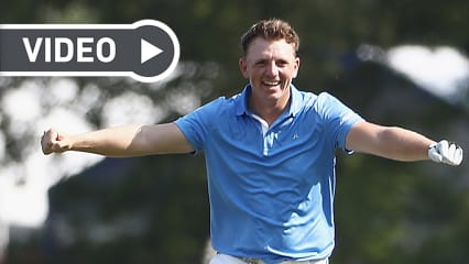 Matt Wallace freut sich über einen gelungenen Schlag bei der PGA Championship 2018. (Foto: Getty)