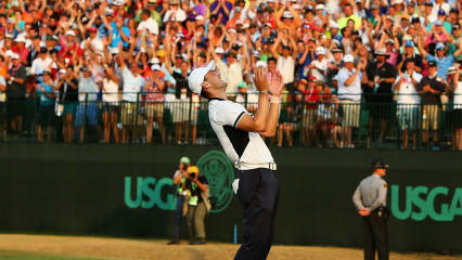 Matrin Kaymer jubelt nach seinem Sieg bei der US Open 2014 in Pinehurst. (Foto: Getty)