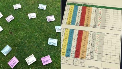 Auf einer Scorekarte können Sie notieren, wie viele Aufgaben beim Training gelösen werden konnten. (Fairwaykids-Blog)