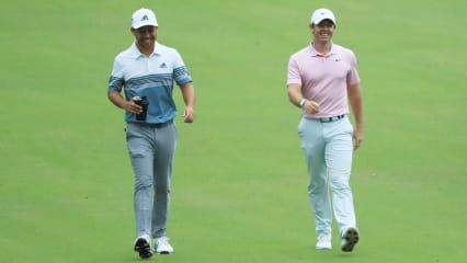 Haben nach ihrer erfolgreichen Woche allen Grund zu strahlen: Xander Schauffele und Rory McIlroy. (Foto: Getty)