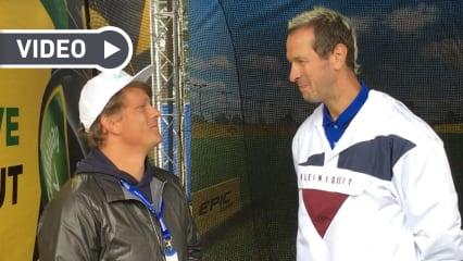 Pascal Hens im Interview mit Golf Post Teammitglied Robin Bulitz (li.) im Rahmen der Porsche European Open 2019. (Foto: Golf Post)