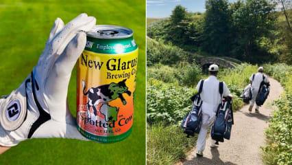 Links: Eine der beliebtesten Biersorten Wisconsins. Rechts: Caddies, die auf den Plätzen Pflicht sind. (Fotos: Jürgen Linnenbürger)