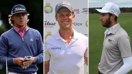 Max Rottluff (l.), Hurly Long (m.) und Thomas Rosenmüller ziehen in das Finale der European Tour Q-School 2019 ein. (Foto: Getty, Twitter.com/@ProGolfTour und @MeanGreenGolf)
