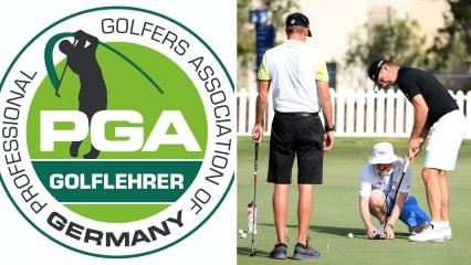 Neu ausgebildete Golflehrer von der PGA of Germany. (Bildquelle links: PGA of Germany/ rechts: Getty)