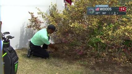 Gärtnern oder Golfen? Tiger Woods kombiniert beides zu einem genialen Schlag. (Foto: Youtube Screenshot/ PGA TOUR)