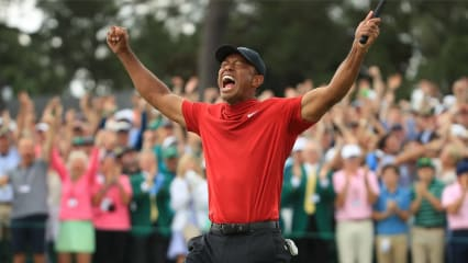 Tiger Woods rohe Emotion nach seinen finalen Putt beim US Masters 2019. (Foto: Getty)