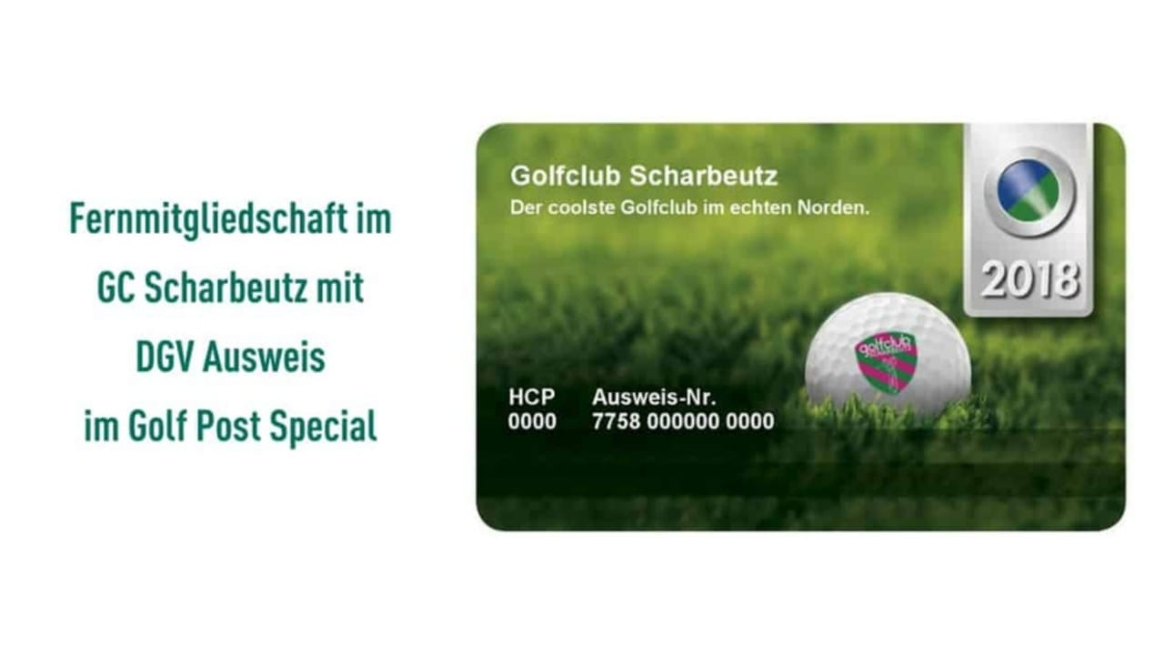 """Mit der Fernmitgliedschaft im GC Scharbeutz geht natürlich auch ein DGV Ausweis samt Regionalkennzeichnung """"R"""" im Umkreis von 70 km einher. (Foto: GC Scharbeutz)"""