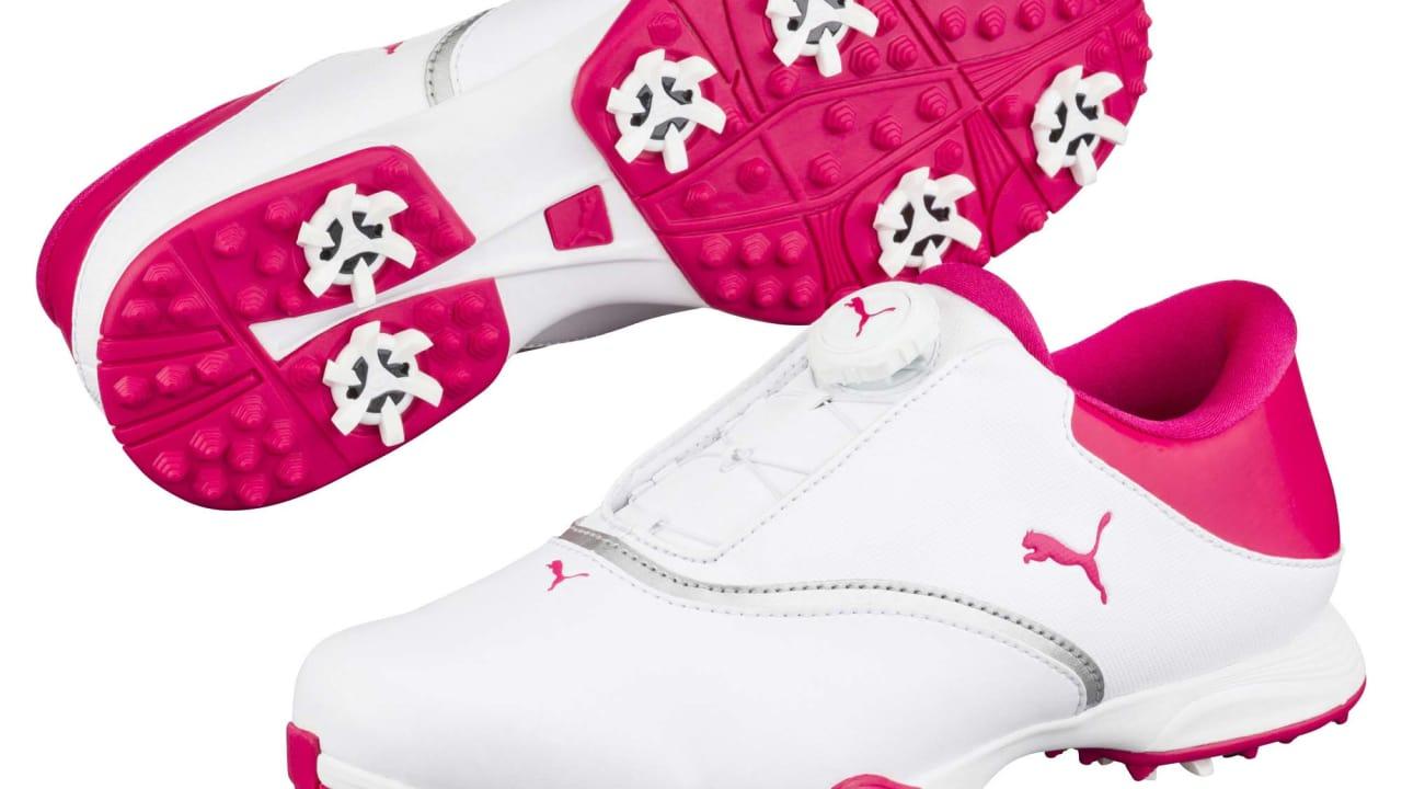 Die schnürsenkellose Disc-Technologie befindet sich auf der Lasche des Schuhs. (Foto: Puma Golf)