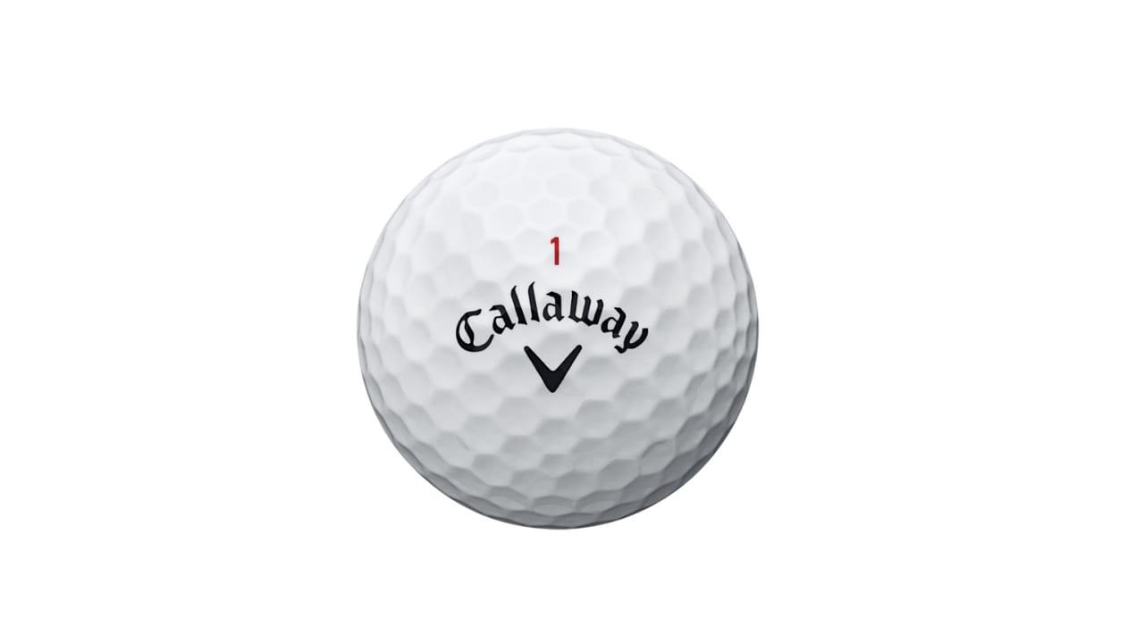 So sieht der Chrome Soft Golfball von Callaway aus, wenn er aus der Packung kommt.