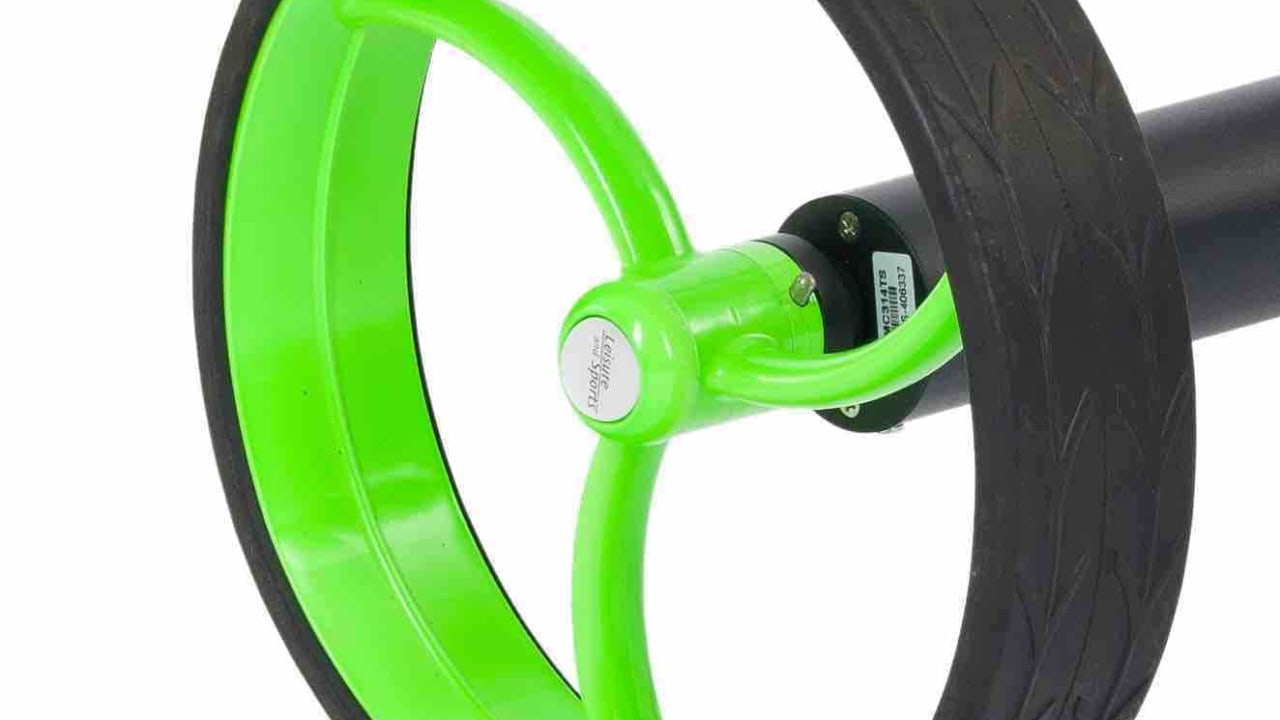 Die Räder des Falcon Down Hill Control Elektro-Trolleys von Leisure and Sports. (Foto: Leisure and Sports GmbH)