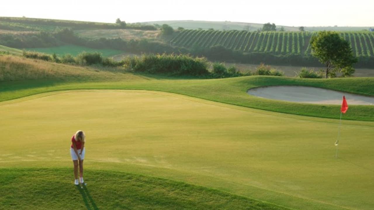 Der Club liegt eingebettet zwischen Weingärten und sanften Hügeln der jahrhundertealten Kulturlandschaft. (Foto: GC Veltlinerland Poysdorf)