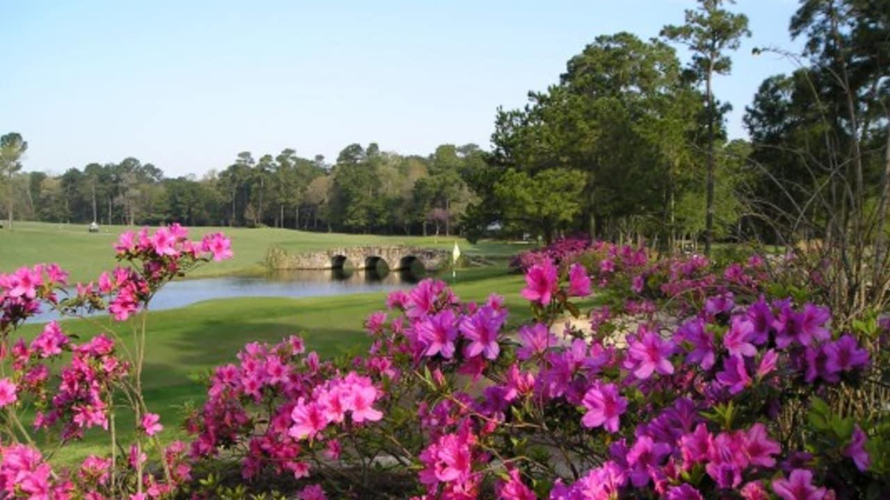 """So ist es Ihnen auf dem Tour 18 Golfkurs möglich, die berühmte Strecke """"Amen Corner"""" des Augusta National Kurses zu spielen, auf der sich bereits dramatische Masters-Momente abspielten. Das hier nachgebildete 12. Loch des Augusta National wird oft als schwierigstes Loch der Welt bezeichnet. Auf der Tour 18 können Sie sich an der legendären Bahn versuchen. (Foto: Greater Houston Convention & Visitors Bureau)"""
