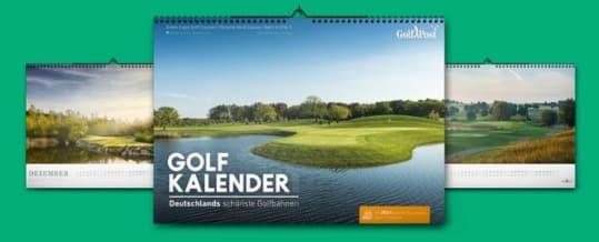 Der Golfkalender 2019 mit den schönsten Golfbahnen Deutschlands und 2für1 Greenfee-Gutscheinen.
