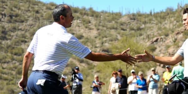 Zum Auftakt der Valero Texas Open trifft Martin Kaymer (r.) in einem Flight auf Matt Kuchar und dessen Landsmann Justin Leonard.