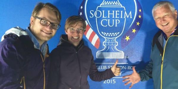Matthias Gräf (l.) trifft in St.Leon-Rot Ann-Kathrin Lindner und Frank Adamowicz zum Solheim Cup 2015 Golf Post Talk.