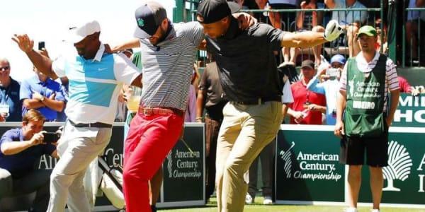 Alfonso Ribeiro, Justin Timberlake und Steph Curry hatten Spaß bei der American Century Championship. (Foto: Twitter @BaskteballForever)