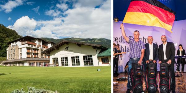 Das Kitzbüheler Alpenpanorama und die strahlenden Sieger des MercedesTrophy Deutschland Finales. (Foto: Mercedes Benz)