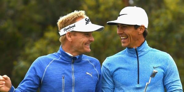 Sie haben allen Grund sich zu freuen: Sören Kjeldsen (r.) und Thorbjörn Olesen führen beim World Cup of Golf. (Foto: Getty)