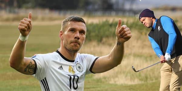 Lukas Podolski Michael Ballack Golf Fussballer Artikelbild