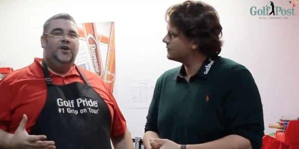 Mit dem Even Par Golf Inhaber, Dietmar Olbert (li.) hat sich unser Equipment-Redakteur, Robin Bulitz zum Griffwechsel getroffen und brandneue Golf Pride Griffe aufgezogen. (Foto: Golf Post)