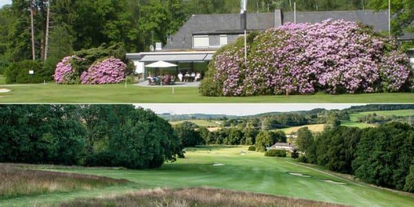Das Clubhaus und der 13. Abschlag des Golf-Clubs Bergisch Land. (Foto: Golf-Club Bergisch Land)