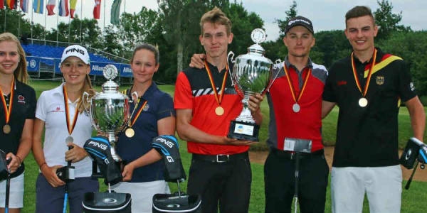 Die Medaillengewinner der Allianz German Boys and Girls Open: Annabell Fuller, Emma Spitz, Linn Grant, Falko Hanisch, Jiri Zuska und Jannik de Bruyn (v.l.) (Foto: DGV/stebl)