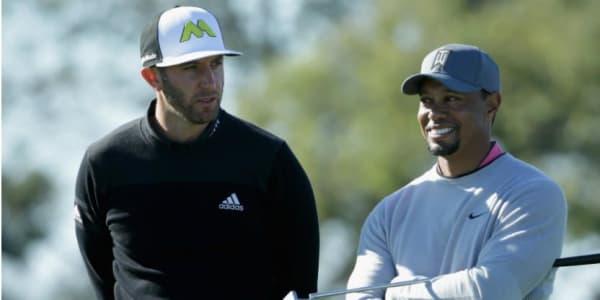 Dustin Johnson und Tiger Woods spielten gemeinsam mit Donald Trump und Brad Faxon. (Foto: Getty)