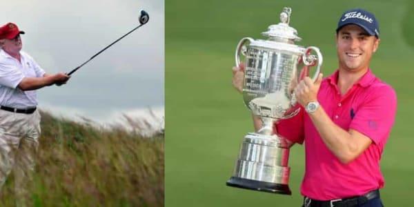 Donald Trump war mal wieder mit einigen Hochkarätern der PGA Tour unterwegs. (Foto: Getty)