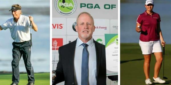 Bernhard Langer, Ted Long und Caroline Masson - sie alle drei haben bei den PGA Awards in Kassel abgeräumt. (Foto: Getty / Facebook: PGAGermany)
