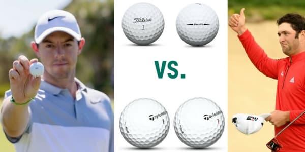 Rory McIlroy und Jon Rahm stellen klar, dass der TaylorMade TP5x Golfball deutlich besser ist als die Titleist Pro-V-Modelle. (Foto: Getty/TaylorMade/Titleist)