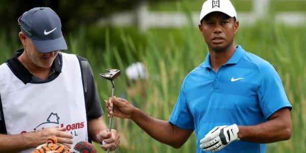 Tiger Woods experimentiert mit einem Mallet-Putter von TaylorMade. (Foto: Getty)