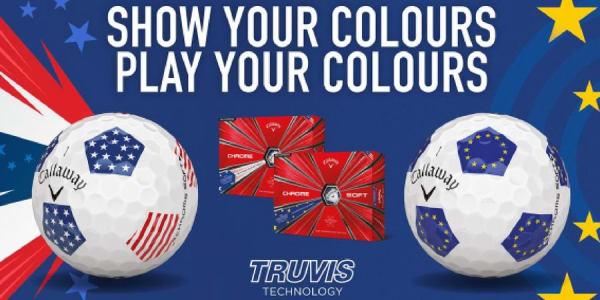 Der Callaway Chrome Soft Golfball kommt passend zum anstehenden Ryder Cup in Teamfarben daher. (Foto: Callaway)