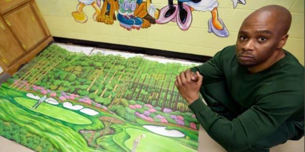 Über 130 Golfbilder malte Valentino Dixon im Gefängnis. (Foto: Twitter.com/@ajplus)