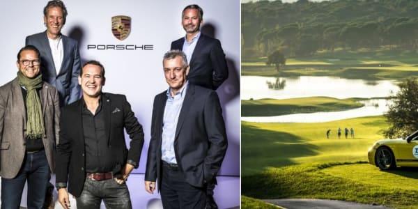 Die Einzelsieger Florian Almeling (Netto B), Axel Ritzau (Brutto), Jörg Albrecht (Netto C, vordere Reihe von links) und Gerhard Weiler (Netto A, hintere Reihe links) vertreten Team Deutschland beim Weltfinale im Mai 2019 auf Mallorca. (Fotos: Porsche Golf Cup)
