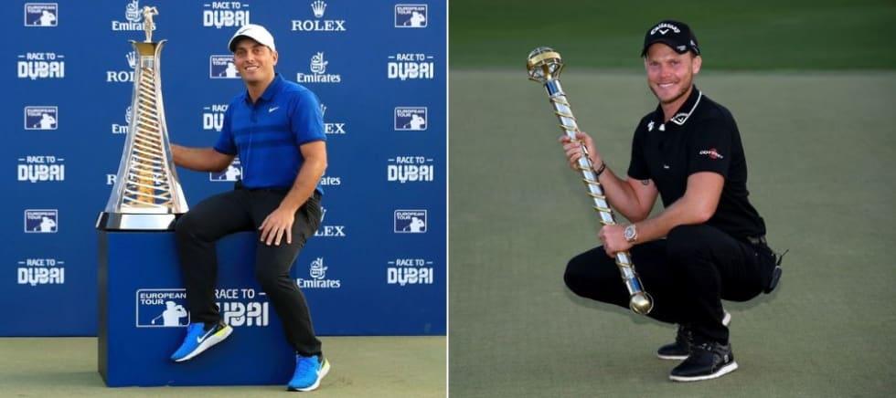 Francesco Molinari (li.) sichert sich das Race to Dubai, während Danny Willett sein Comeback-Sieg in Dubai feiert. (Foto: Getty)
