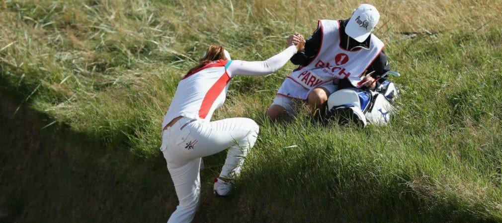 Nicht immer ein leichtes Unterfangen für die Ladies bei der Womens British Open - wie soll man rausspielen, wo man nicht rauskommt? (Foto: Getty)
