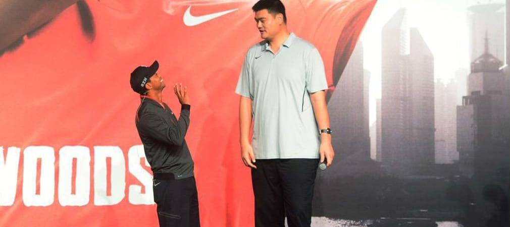 Tiger Woods traf in China Ex-NBA-Star Yao Ming und wirkte im Vergleich wie ein Zwerg.