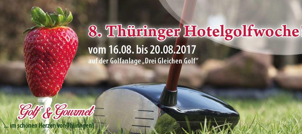 """Vom 16. bis 20. August 2017 findet die 8. Thüringer Hotelgolfwoche auf der Golfanlage Drei Gleichen Golf statt. Jetzt noch schnell anmelden. (Foto: Thüringer Golfclub """"Drei Gleichen"""" Mühlberg e.V.)"""
