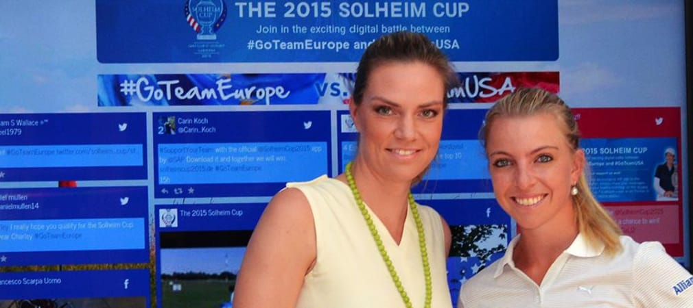 Julia Scharf (l.) und Golf-Profi Sophia Popov moderieren den Solheim Cup im SWR sowie der ARD.
