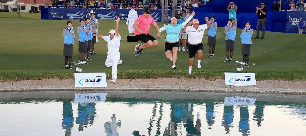Wochenvorschau: Neben dem Sprung in Poppy's Pond bei der ANA Inspiration gibt#s auch Golfpros bei der Shell Houston Open zu sehen. (Foto: Getty)